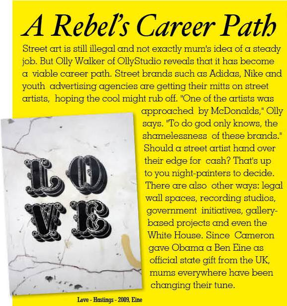 Playgirl Magazine UK, short news piece about street art