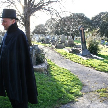 Filming in the cemetary