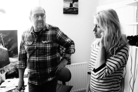 Tessa Ditner with painter Jon Everitt filming